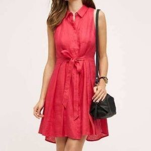 Anthro HD in Paris Pink Linen Belt Pleated Dress